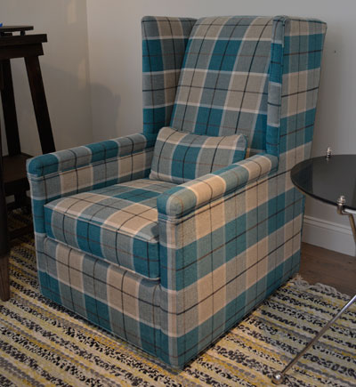 Plaid Upholstery Gets Updated Looks. Wesley Hall Chair