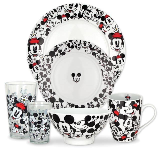 Mickey and Minnie All Over dinnerware is a decaled porcelain design. zrikebrands.com
