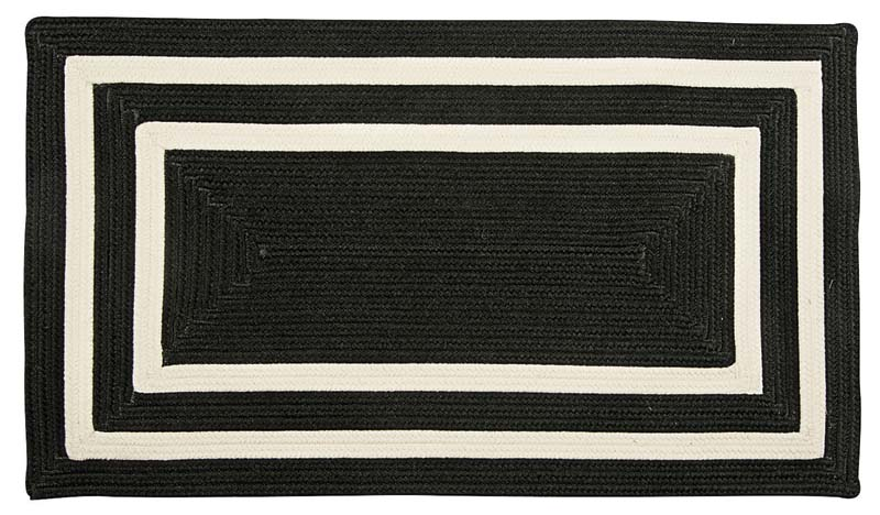 The Pacific design in Colonial Mills' Panama Jack license, shown here in black and white, is a flat braided stripe pattern in polypropylene. Six colorways available.  colonialmills.com