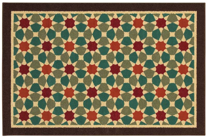 Showing more than 200 rug introductions, Shaw will debut two more colorways and about 60 new rugs in its Boutique collection, machine woven of soft olefin. The Tiled Geo (Multi) design is shown here. shawliving.com
