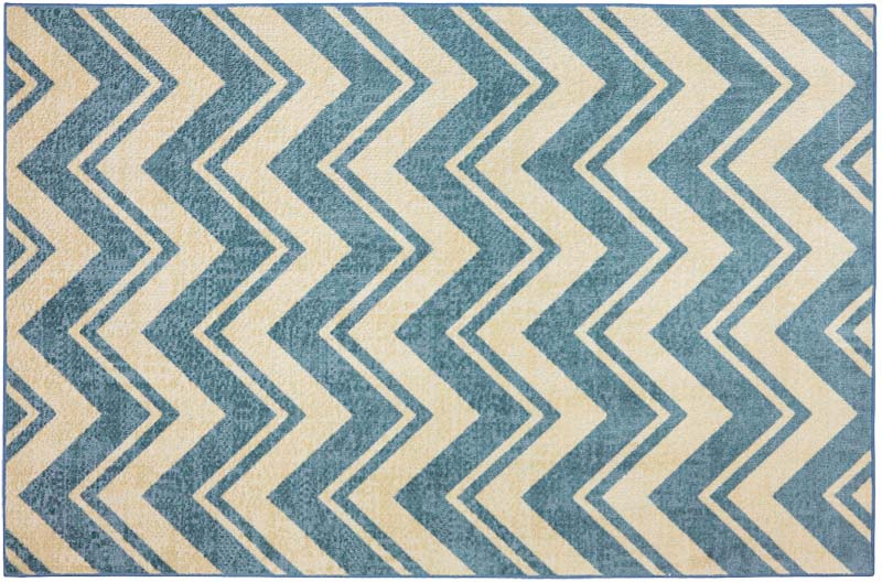 The Lascala Chevron Blue design is from American Rug Craftsmen's Crib to College Collection, which targets preteens and young teens. It's a nylon printed rug with a chevron pattern. mohawkhome.com