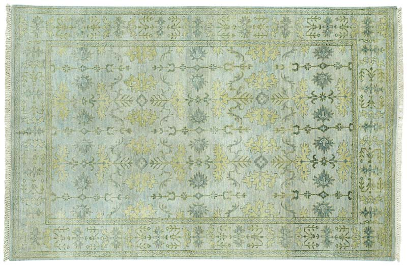 Park Lane is handknotted in India of blended New Zealand and Argentina wool. These Ushak weave rugs are silver washed three times to give them an antique look and feature 64 knots per square inch. capelrugs.com