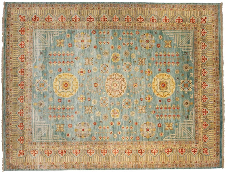 From FJ Kashanian's Sari Wool collection, the Khotan design, here in aqua/ivory, is made of 100 percent wool in Kashmir, India. It's available in sizes from 6-by-9 to 12-by-15. fjkashanian.com