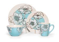Pfaltzgraff Everyday Alexa dinnerware features a casual yet sophisticated line art floral design with a splash of color. pfaltzgraff.com