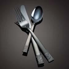 Left: Ion-plated stainless-steel Asheville flatware utilizes an environmentally friendly vacuum-coating process to deliver high-impact color. gorham1831.com