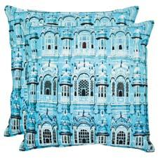 The Verona decorative pillow uses a photo-realistic image of the city on organic cotton. safavieh.com