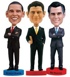 Keep your candidate close with these bobbleheads from Royal Bobbles, which offers figures of Barack Obama, Mitt Romney and Paul Ryan—sorry, no Joe Biden available. royalbobbles.com