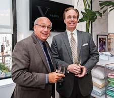 The company made a key move to a showroom space near the Fifth Ave. textiles buildings. At the party formally opening the showroom were, left, Alan Gladstone of Anna's Linens and Hollander's Chris Baker.