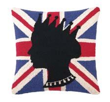 Allow the Queen to sit in on all of the conversation with this pillow design from Peking Handicraft. Called the England Flag with Queen design, the 18-inch-square pillow is hand hooked of wool. pkhc.com