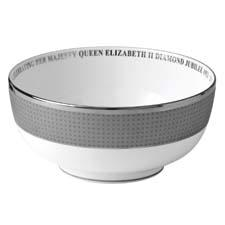 Wedgwood commemorates the queen's Jubilee with four contemporary pieces, including this bowl, in a shimmering mica decoration with platinum detailing. wedgwood.com