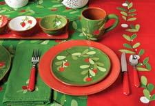 The Mistletoe collection from tag offers cross merchandising opportunities in red and green ceramics, glass, tabletop linens, lighting and paper tabletop products. tagltd.com