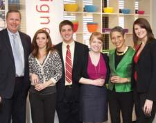 At Q Squared's open house, from left, Gregory Allgeyer of Macy's, Diana LaBrutto of Urban Source, Jay Sullivan and Taira Polisner of Macy's, Nancy Young Mosny of Q Squared, and Diana Monaco of Macy's.