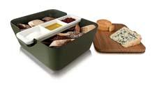 The new Vacu Vin Bread & Dip Serving Set includes all the accessories needed to serve in style: a basket for baguettes; a three-compartment ceramic dip tray; and a bamboo cutting board that doubles as a cover. vacuvin.com