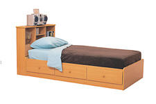 This bed and headboard set from Woodpecker Furniture wholesales for $85. woodpeckerfurniture.com