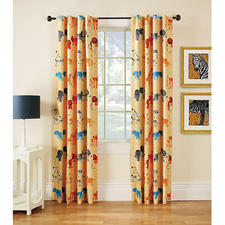 "The Animal Park curtain panel is part of the company's launch of firefend, a collection of flame-retardant window treatments that Louis Hornick III, chief operating officer, describes as ""the ultimate window treatment."" firefendcurtains.com"