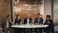 The New York Times' Marianne Rohrlich, far right, moderated a panel on the changing business of design at Tai Ping Carpets. The panel included, from left, Vicente Wolf, UW Home; Cristina Grajales, Cristina Grajales Gallery; Franklin Getchell, Moss; and Michael Bruno, 1stdibs.