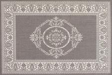 Couristan's Recife collection, here in the Antique Medallion design in a gray/white colorway, is flatwoven and for indoors or outdoors. couristan.com