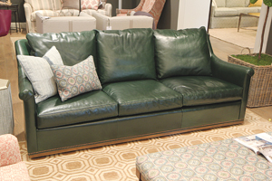 Ordinaire This 89 Inch Sofa In Hunter Green Leather Has Been A Strong Placement In  Wesley Hall. Retail $6,250