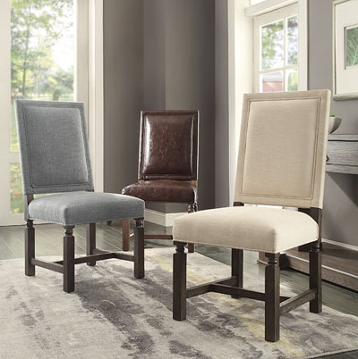 Incredibly spacious and comfortable, the Savoy functions well as an accent chair as well as a dining chair. Finished in blue tweed or brown bonded leather, and a distressed wood finish, this upscale chair will truly add class and style to any décor.