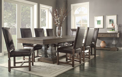 "Inspired by the Spanish word ""Parador"", this dining table reflects the luxurious feel of historic buildings and castles. The Parador dining is a combination of cast aluminum and solid wood. The pillars are hand painted and have a distressed texture. The tabletop is a combination of ash wood and ash veneer and comfortably sits eight. It's a true statement for your home."