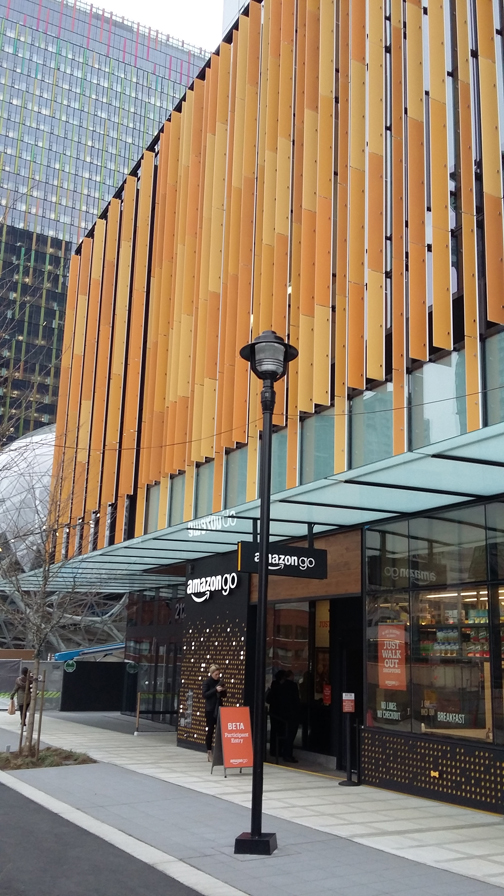 The Amazon Go store is on the corner of 7th and Blanchard in Seattle, a central downtown location.