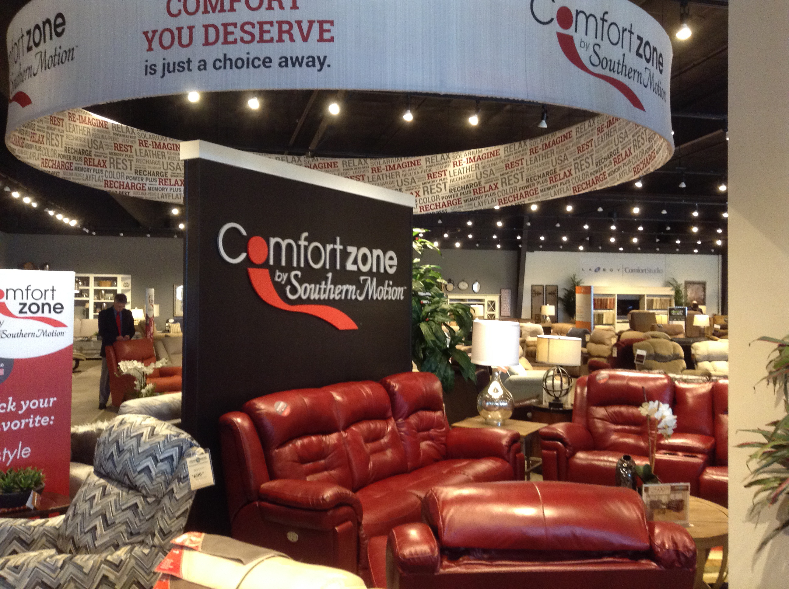 It's a major motion store. The important upholstery category gets prime positioning near the entrance with displays of Southern Motion (shown), La-Z-Boy, Flexsteel and more.