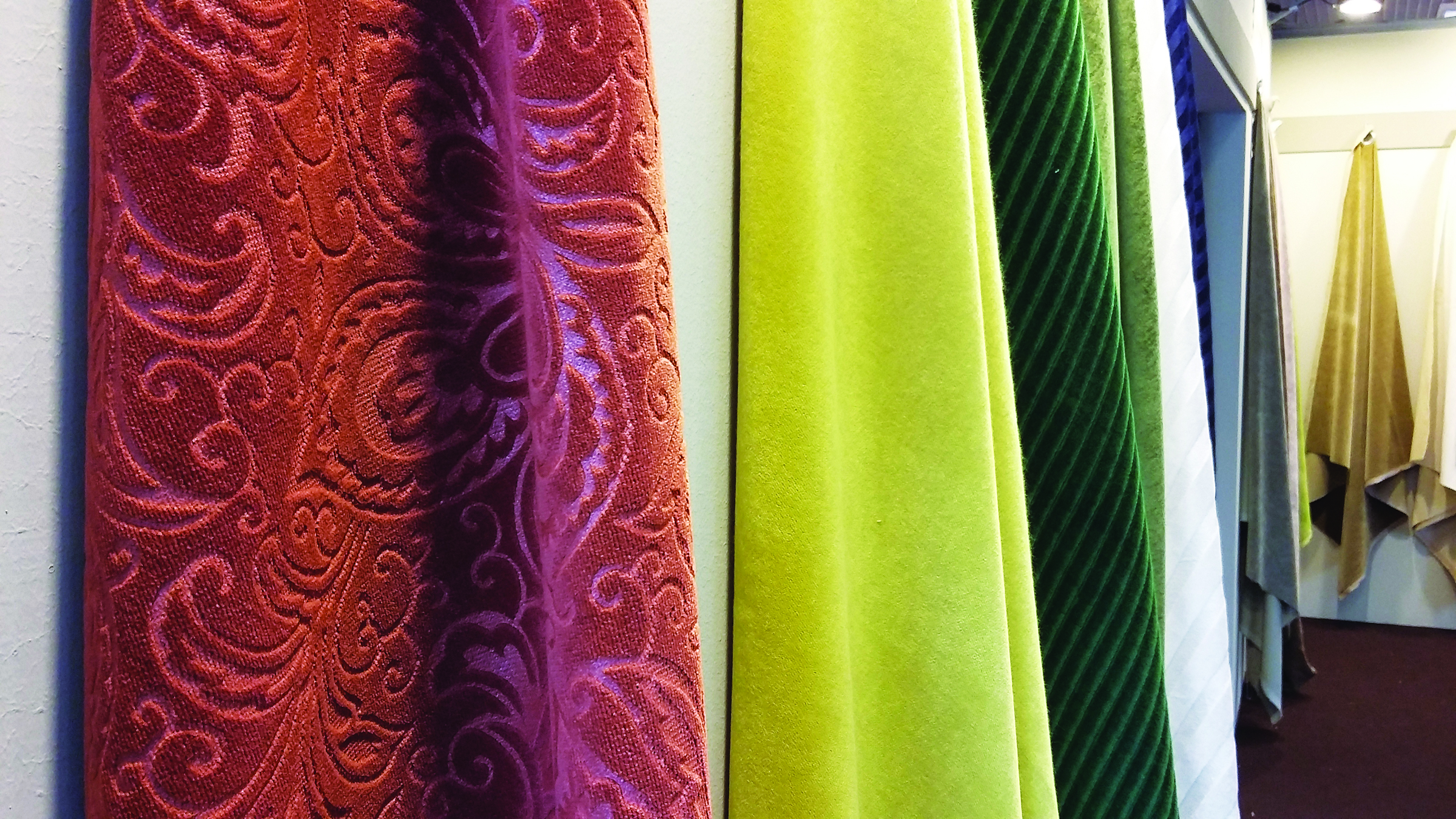 JB MARTIN CO.: Velvets at JB Martin include warm hues, indoor/outdoor and digitally printed velvets.