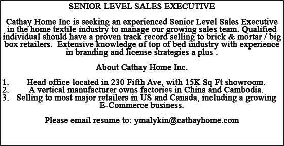 Cathay Home Classified Ad