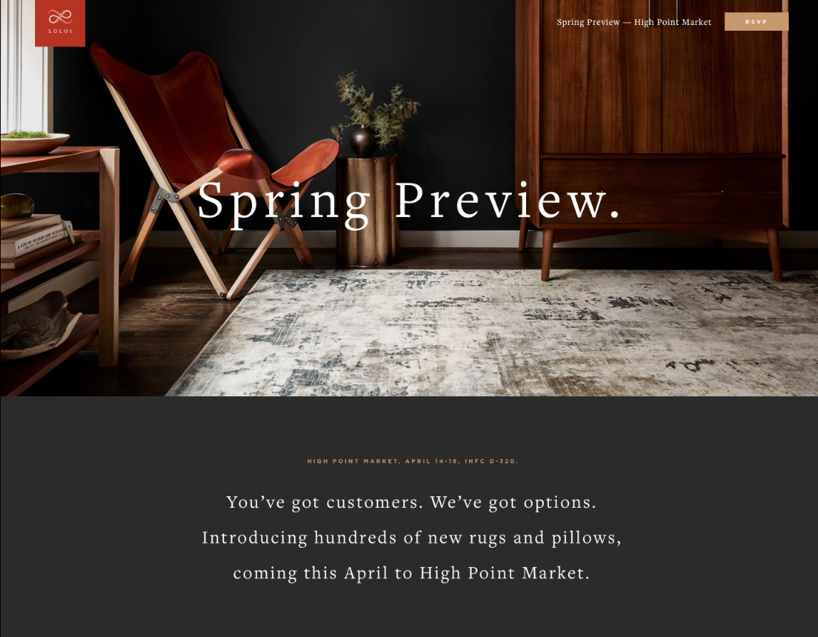 loloi previews high point market introductions with new landing page