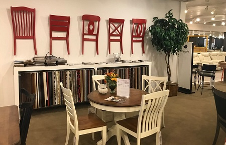 Red Chair Backs On A Neutral Wall Add Pop Of Color And Draw Consumers Deeper Into Kittles Canadel Custom Dining Gallery