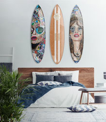 Surfboards as wall decor.