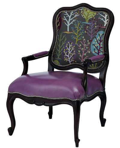 Purple Leather Accent Chair Chairs Seating