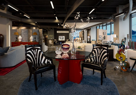 Maitland Smith Faux Zebra Hide Dining Chairs Are Paired With A Curate Red  Piano Lacquer