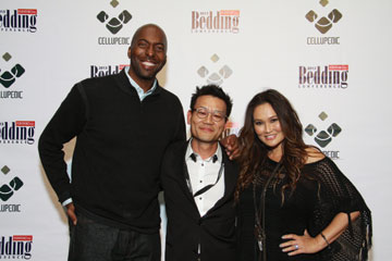 Celebrities John Salley, left, and Tia Carrere join Cellupedic's Kevin Park to welcome guests to the company's after-party event.