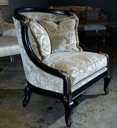 Neutral goes dramatic in this accent chair introduction by Massoud shown in  a jacquard velvet by