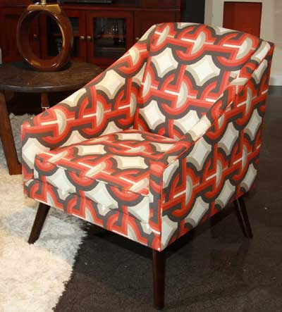 Bassettu0027s Monroe Chair Has A Mid Century Style And Geometric Orange And  Gray Fabric.