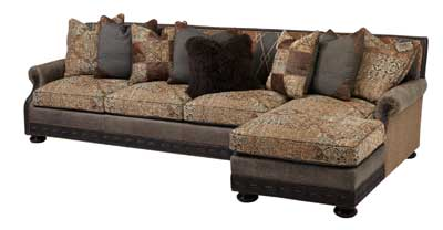 massoud sectional pairs leather with line truffle fabric to create a distinctive style combination