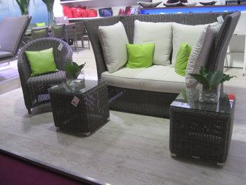 The Gerhard Welzel Collection Booth Greeted Visitors With This Wicker  Outdoor Furniture Display, Featuring A